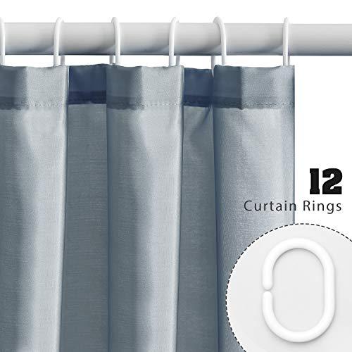 Furlinic Tende Doccia Tessuto AntiMuffa Grigio Impermeabile Ultra Grande Pulita del Fodera LavabileImposta con 12 Ganci di Plastica180 x 180cm