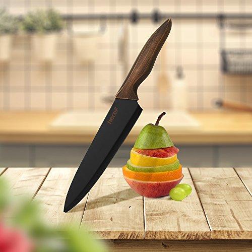 hecef Set di Coltelli da Cucina Coltelli in Acciaio Inox con Un Nero Rivestimento Antiaderente Include 8Coltello da Cucina 7Coltello Santoku 5Coltello Multiuso e 35Coltello Sbucciatore