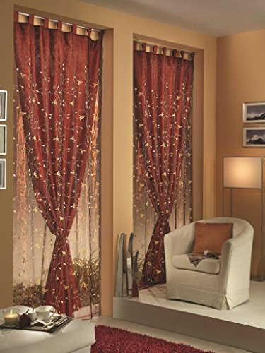 Home Collection TDS114 Tenda Doppia Shantung Poliestere Bordeaux 140x290 cm
