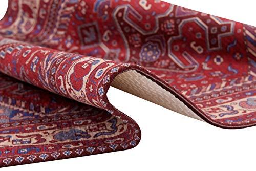 HomeLife Tappeto Stile PersianoOrientale 60x110CM  Tappetino in Cotone per SalottoCamera da LettoSoggiorno con Fondo Antiscivolo  Scendiletto Stampa Digitale di Inspirazione Orientale Blu