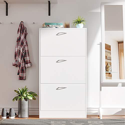 Homfa Scarpiera Legno Mobile Porta Scarpe Scaffale Bianco Mensola Organizzatore per Casa Ingresso Bianco 3