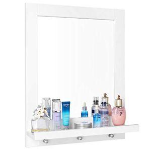 Homfa Specchio da Bagno Specchio Arredobagno con Cornice 3 Ganci Bianco 47  60  135 cm