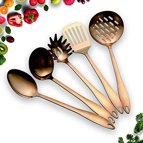 HOMQUEN Utensili da Cucina Antiaderente in Acciaio Inox SetRame 5 Utensili da Cucina Cottura in Oro Massiccio per Barbecue