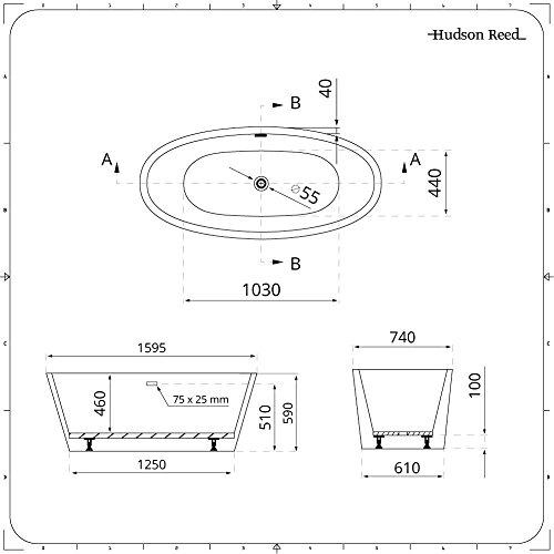 Hudson Reed Ashbury Vasca da Bagno Freestanding  Acrilico Bianco  Design Centro Stanza Ovale  1595 x 740 x 590mm