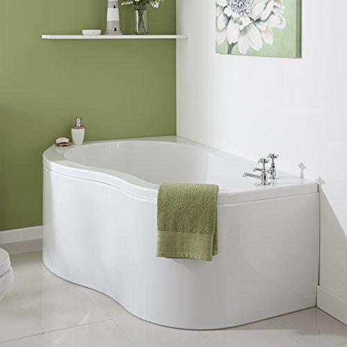 Hudson Reed Vasca da Bagno Angolare  Acrilico Bianco  Design SalvaSpazio ad Angolo Reversibile  con Pannello Vasca  1500 x 1000 x 565mm