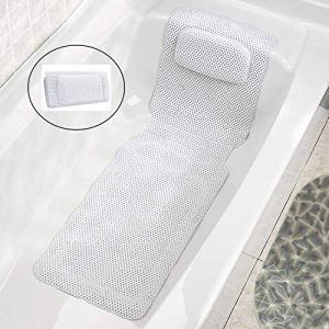 JinSu Tappetino per Vasca da Bagno con Cuscino Cuscino di Vasca da Bagno con Ventose Antiscivolo Antibatterico Foamed PVC Cuscino Accessorio da Vasca 125  36CM