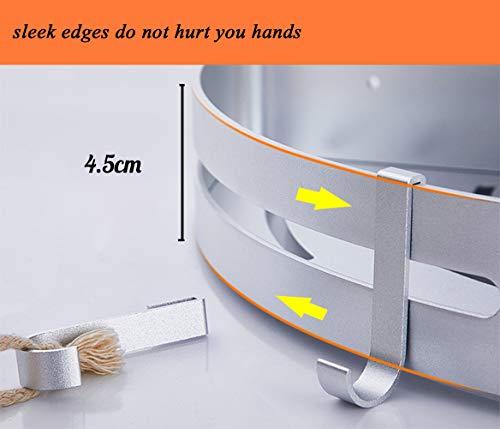 Kazeila 2 Strati Mensola Doccia per Bagno Senza Foratura  Mensole ad Angolo con 4 Ganci  Porta Shampoo Sapone per Doccia  Alluminio Portaoggetti Doccia Triangolo