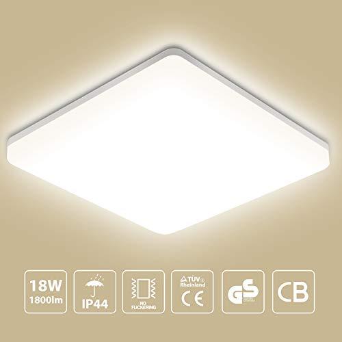 Lampada da soffitto LED Oeegoo 18W plafoniera luce quadrata 1800lm IP44 impermeabile Bianco naturale 4000K Plafoniera LED per soggiorno Sala da pranzo Camera da letto Bagno Cucina Balcone Corridoio