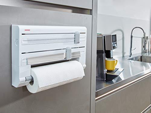 Leifheit PortaRotoli Parat ComfortLine per 3 Rotoli Taglia Rotoli Preciso e sempre Pulito Portarotolo Cucina per Carta Pellicola e Alluminio