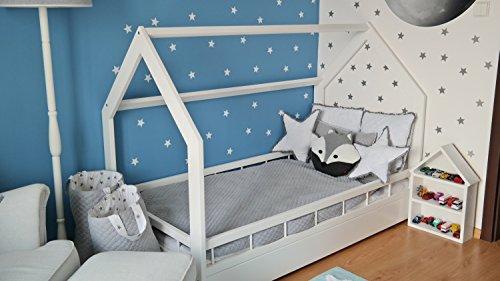 letto  casa in legno stile scandinavo nordico bambino cameretta 160x80  sponda colore bianco