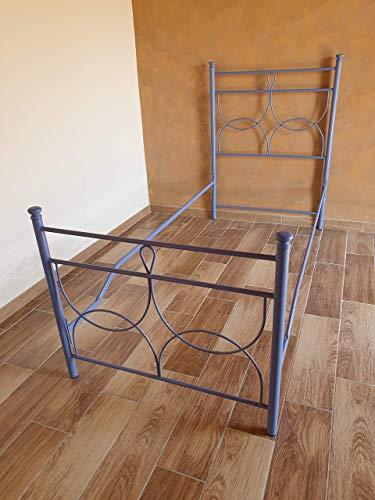 Letto singolo in ferro battuto modello Marianne carta da zucchero blu ral 5014