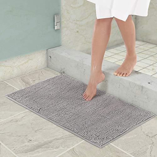Lifewit Tappetino da bagno in ciniglia antiscivolo 80 x 50 cm tappetini da bagno facili da pulire soffice tappeto doccia in microfibra grigio
