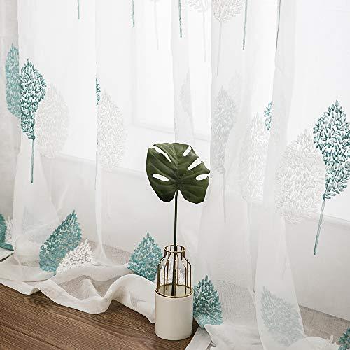 MIULEE Voile Tenda Finestra con Occhielli a Pannello Tende Trasparenti per Soggiorno e Camera da Letto 2 Pannelli 140 X 145 cm Grandi Foglie Blu
