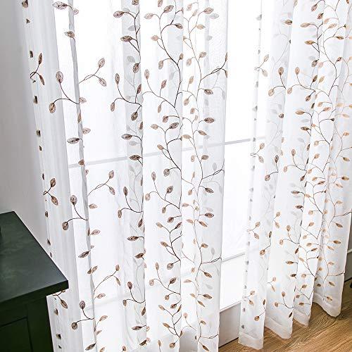 MIULEE Voile Tenda Finestra con Occhielli Tenda a Pannello Tende a Vela Trasparente per Soggiorno e Camera da Letto 2 Pezzo Set 140X175 cm Foglie Marroni