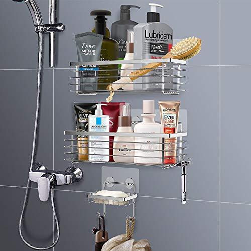 Oriware Adesivo Mensola Bagno Doccia con Portasapone Mensole Caddy con Portacoltelli da Barba Senza Foratura Inossidabile SUS304  Confezione da 3