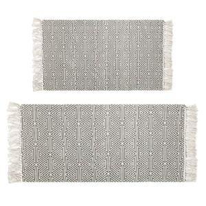 Pauwer  Tappeto in Cotone 100 con Frange Lavabile in Lavatrice per Camera da Letto Soggiorno Cucina Triangle Grey 60x90cm60x130cm