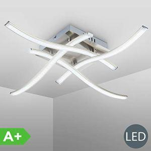 Plafoniera LED da soffitto lampada moderna con bracci luminosi per lilluminazione da interno luce calda LED integrati 4x34W 4x350Lm metallo color nickel opaco dimensione 475x475cm 230V IP20