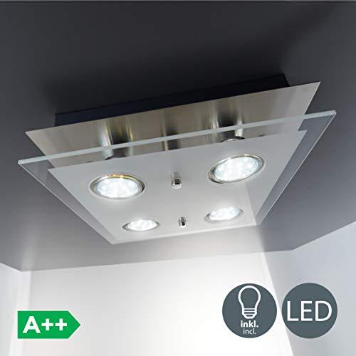Plafoniera LED da soffitto lampada moderna da soffitto include 4 lampadine GU10 da 3W 250 Lumen luce calda 3000K lampadario quadrato corpo metallo e vetro color nickel opaco 230V IP20