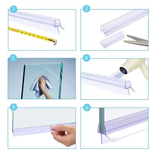Qhui Guarnizione Doccia Sottoporta 2 x 100 cm Vetro 6mm7mm8mm Premium PVC Guarnizioni Box Doccia Gap per Guarnizione Doccia Inferiore 14mm Non  Richiesta la Colla