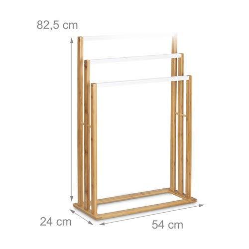 Relaxdays 10020308 Porta Asciugamani da Terra Bamb Marrone 24x54x82 cm
