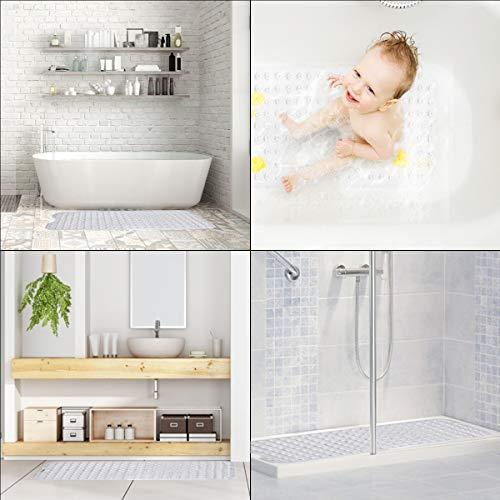 RenFox Tappetino da Doccia Antiscivolo Tappetino per Il Bagno a Ventosa Antimuffa Lavabile Lungo Bath Mat 100x40cmBianca