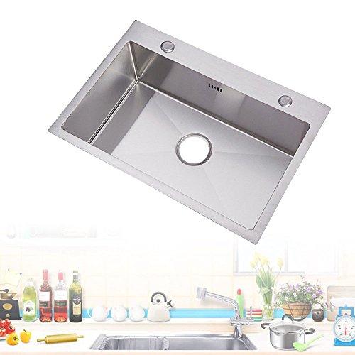 Rettangolo Lavello da cucina sottotop in acciaio inox lavabo per cucina con troppopieno