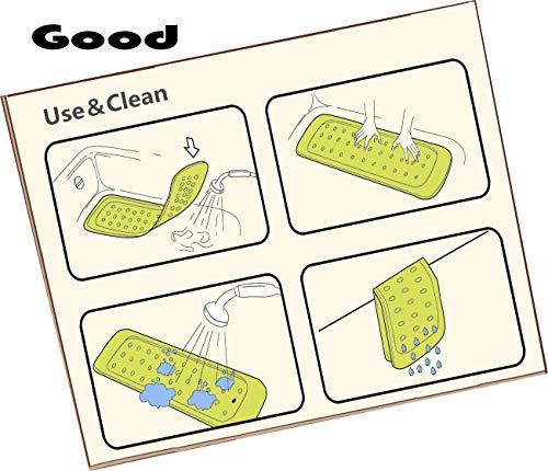 Ruiuzi extra lungo antiscivolo ambientali TPR gomma coccodrillo tappetino da bagno doccia vasca tappetino nella vasca da bagno per neonati e bambini con 185potente ventosa Crocodile 374137Inch