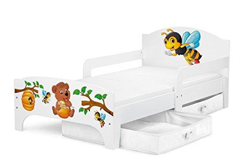 Smart Letto Lettino Per Bambini In Legno Cassetto Cassettone e Materasso Magnifiche Stampe Mobili Per Bambini Attrezzatura Stanza Per Bambino Dimensioni 140x70 Tema Orsacchiotto e Api