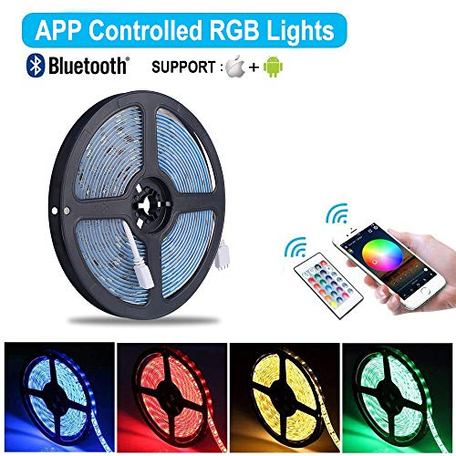 Striscia LED RGB 10M Musica ALED LIGHT LED Strip Bluetooth RGB Striscia IP65 Impermeabile 12V Striscia Bluetooth  24 Tasti Telecomando Nastri Led Smartphone Android e IOS Controllato da APP