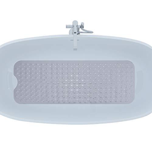 Tappetino per Doccia Vasca da Bagno Extra Lungo 100cm x 40cm AntiScivolo Rettangolare Trasparente con Ventose  Grigio