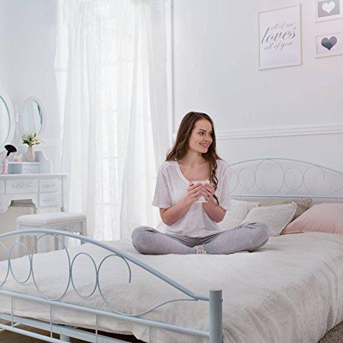 TecTake LETTO METALLO CON RETE STRUTTURA MATRIMONIALE MODERNO  modelli differenti  140x200cm Bianco  no 401725