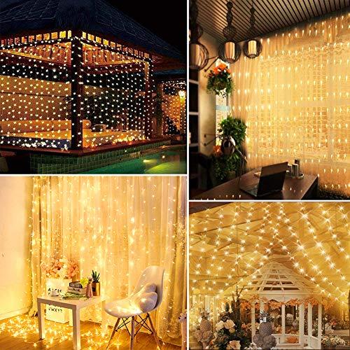 Tenda Luminosa  Luci da Esterno Giardino 3M 300LED Luci Led Decorative per Natale 8 Modalit Luci Led luminarie da Esterno per Anno Nuovo Matrimonio Portico Casa Interno luminarie da Esterno