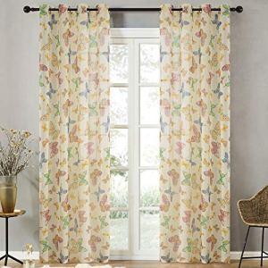 Topfinel Farfalla Stampa Voile Tenda con Occhielli Pura Parete Porta Finestra Balcone140 x 225 cm 2 Pezzo