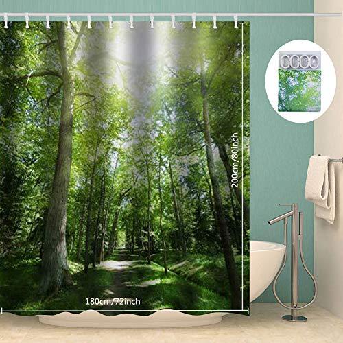 Topmail Foresta Tenda da Doccia con 12 Ganci Impermeabile Antimuffa Antibatterica in Poliestere Tende per Vasca da Bagno 180x200cm Verde