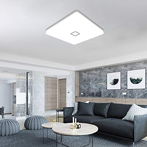 uesen 24W moderno impermeabile LED Lampada a soffitto piazza sottile plafoniera a filo Bianco freddo 5000K plafoniere a led per Soggiorno Sala da pranzo Camera da letto Bagno Cucina Balcone Corridoio