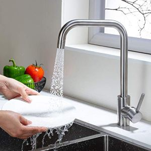 Umi Essentials Rubinetto Cucina 2 Funzioni Girevole a 360 Miscelatore Monocomando per Lavello Cucina Alto Acciaio Inossidabile Acqua Fredda e Calda