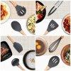 Vemico Utensili Cucina Set 9 Pezzi Silicone Cucina Utensili Resistente al Calore Con Manico Legno Duro Antiaderente Facile da pulire Incluso Cucchiaio Silicone Spatola ecc