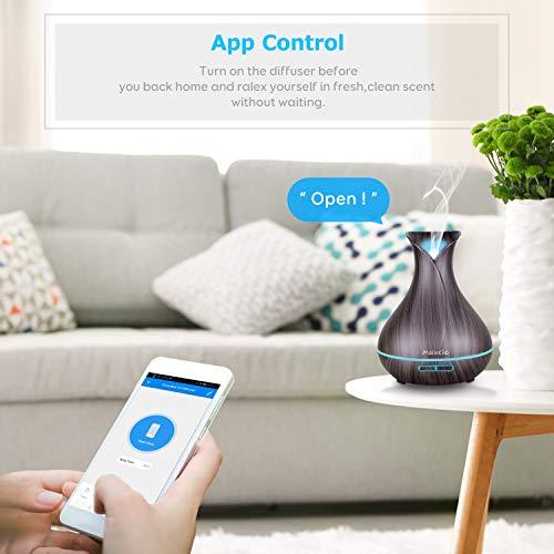 Alexa Diffusore Di aromi WiFi Maxcio 400ML Profumatore Intelligente di Oli Essenziali Ad Ultrasuoni Atomizzatore Elettrico Timer Funziona con AlexaGoogle Home Controllo Remoto 7 Colore LED