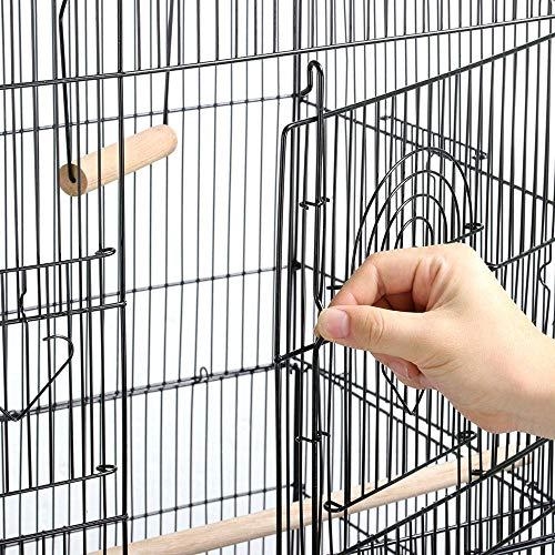 Yaheetech Gabbia Voliera per Pappagalli Uccelli in Metallo e Legno con Carrello con Ruote Girevole Nera