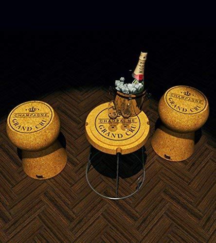 Beat  Serie tappi di Champagne 1 tavolinosgabello in sughero modellato design di Mini Garibay