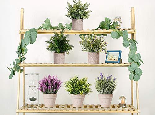 NEWROAD Pianta Artificiale Piante Finte Plastica Mini Pianta Vera Pianta di Lavanda Fiori con Vaso Set da 3 Set Bonsai Verde Interno per Bagno di Casa Cucina Scrivania Giardino Arte Decorazione