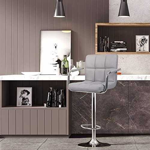 Songmics 2 x Sgabelli da Bar Cucina in Similpelle Regolabile Girevole con Schienale Gris LJB93G