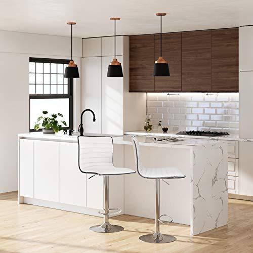 SONGMICS 2 x Sgabelli da Bar o da Cucina in Similpelle Bianco Regolabile Girevole con Schienale LJB65W fintapelle