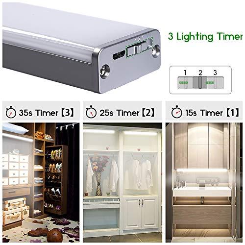 100 LED Luce Led Armadio con Sensore Luce Movimento Armadio Lampada Notte Ricaricabile luci Led a Batteria per Armadio Camera da Letto Cucina Scale Corridoio