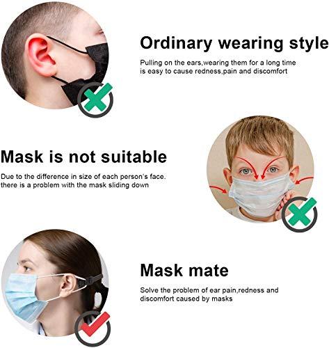 10 Pezzi Maschera Antiscivolo Gancio Cinghia di Prolunga per Maschera Estendi Ganci per Maschera Gancio Antiscivolo per Mascherina Fascetta di estensione per elastici delle mascherine nero