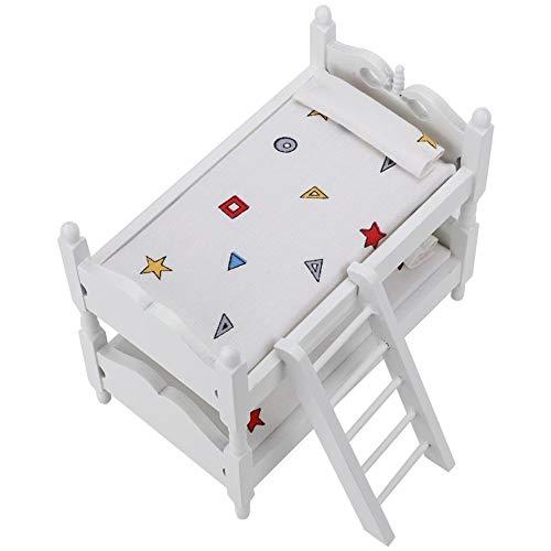 112 Letto a Castello in Legno per Casa delle bambole Mini Letto a Castello per Casa delle Bambole Simulato Mobili in Miniatura Modello Scena AccessoriGiocattolo Cognitivo per Ragazze Ragazzi A