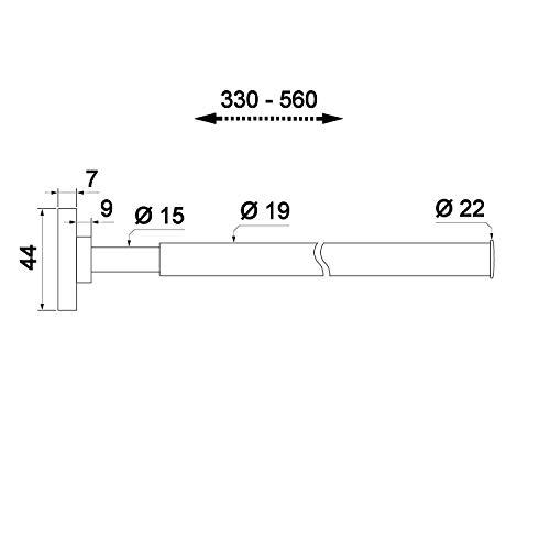 1 x SOTECH Porta asciugamani estensibile da 330 a 560 mm Porta asciugamani Porta asciugamani a muro Porta asciugamani