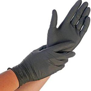 200x Guanti Monouso  Nero Safe Fit Lavoro Leggero Guanti in nitrile M 78 Senza Polvere Senza Latex Grado Medico AQL 15 Pulizia Giardinaggio Tatuaggio Pittura