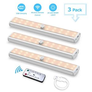 3PACK Luce per Armadio Fansteck 20LED Luce notturna USB Ricaricabile con Telecomando Luci da Notte Nastro Adesivo Magnetico per Scale Guardaroba Corridoio Cucina ect