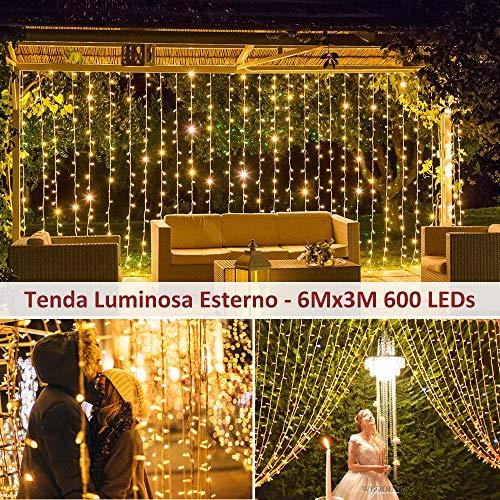 600 LED 6Mx3M Zorela Tenda Luminosa Natale IP44 Impermeabile Luci di Natale 8 Modalit Tenda Luminosa Esterno Bianco Caldo Tenda di Luci Esterno LED Luci Stringa per Natale Giardino e Matrimonio